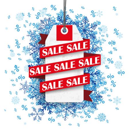 Preis Aufkleber mit Band und Text Verkauf auf dem Hintergrund mit blauen Schneeflocken. Eps 10 Vektor-Datei. Standard-Bild - 48824920