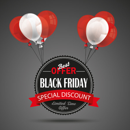 eps 10: Black friday emblem with red ribbon and balloons on the dark background. Eps 10 vector file. Illustration