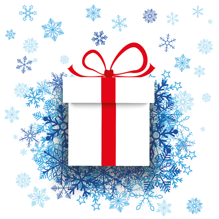 eps: Gift carton with blue snowflakes on the white. Eps 10 vector file.