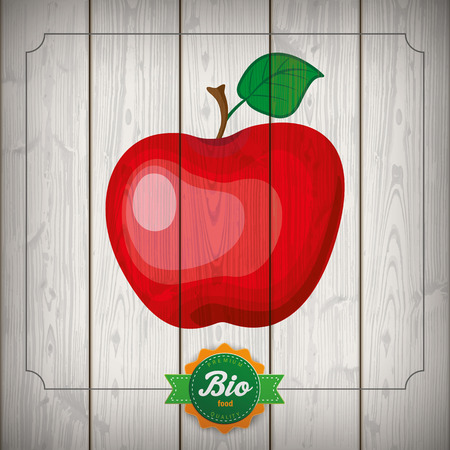 laths: Wooden laths with bio label and red apple. Eps 10 vector file.