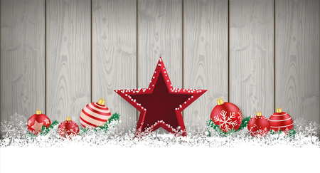 christmas star: Wooden christmas card with snowflakes, star and baubles. Eps 10 vector file. Illustration
