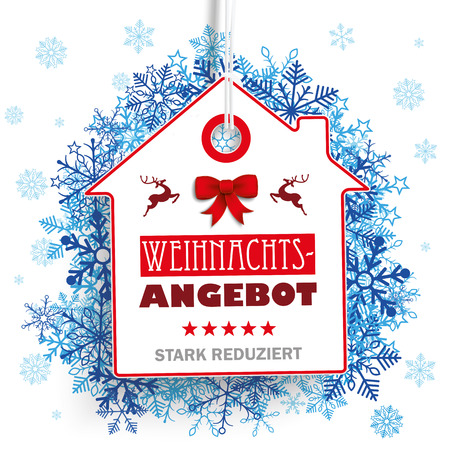stark: German text Weihnachtsangebot, stark reduziert, translate Christmas Offer, discount. Eps 10 vector file. Illustration