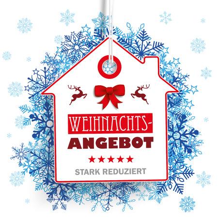 German text Weihnachtsangebot, stark reduziert, translate Christmas Offer, discount. Eps 10 vector file. Illustration
