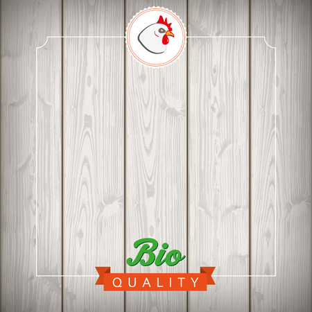 Bio chicken food advertise with wooden laths. Eps 10 vector file.