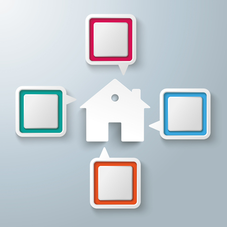vecter: Four colorful speech bubbles with a house centre on the gray background. Eps 10 vector file.