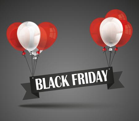 eps: Black friday ribbon and balloons on the dark background. Eps 10 vector file. Illustration