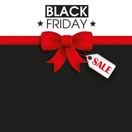 Red ribbon with price sticker and text black friday. Eps 10 vector file. Stock Illustratie