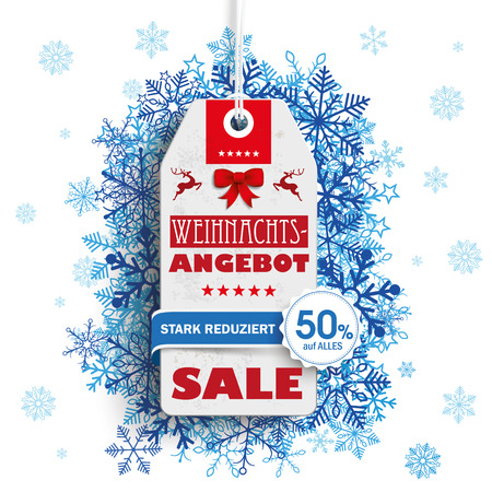 stark: German text Weihnachtsangebot, stark reduziert, translate Christmas Offer, discount.  Illustration
