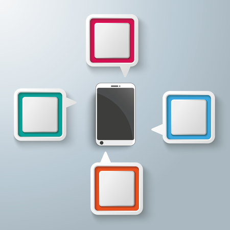 vecter: Four colorful speech bubbles with a smartphone centre on the gray background.