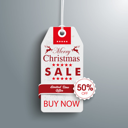 reklame: Price sticker with emblem for the christmas sale on the gray background