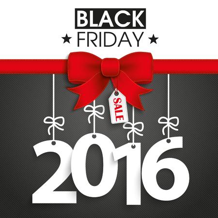 Red Ribbon mit Text schwarz Freitag und 2016.