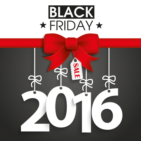 Red ribbon with text black friday and 2016.
