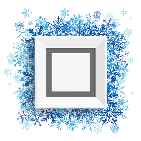 quadrat: Picture frame with blue snowflakes on the white.   Illustration
