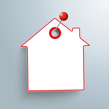 paper pin: Paper house sticker with pin on the gray background.  Illustration