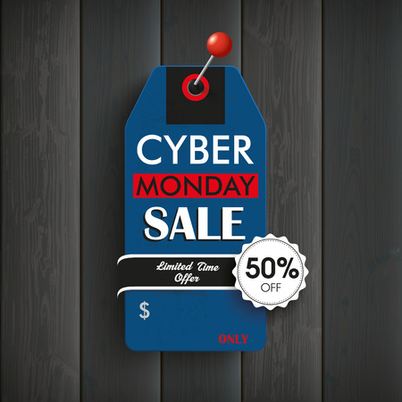 Wooden board with price sticker and text cyber monday. Sale.  Illustration