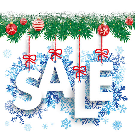 twigs: Fir twigs with snow, baubles and text Sale.
