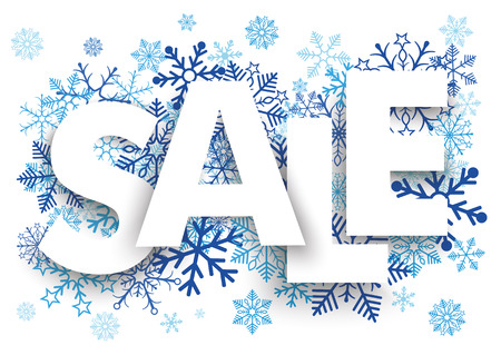 onlineshop: Sale letters with blue snowflakes on the white background.  Illustration