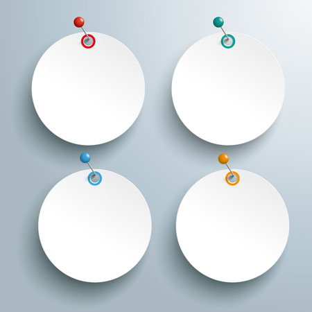 ten best: Circle paper sticker with pin on the gray background.