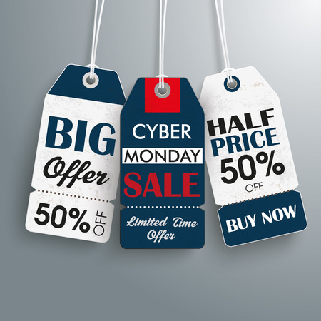 sale tags: Cyber monday price stickers the gray background.