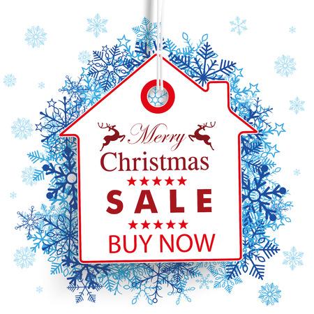 price sticker: House price sticker for christmas sale.   Illustration