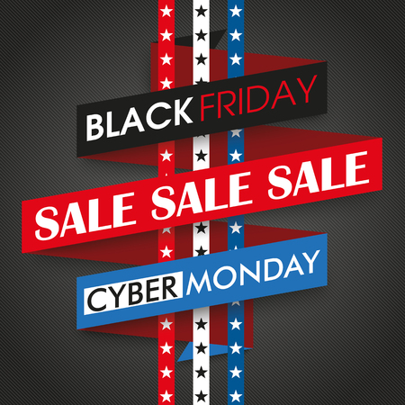 black friday: Ribbon text black friday and cyber monday.