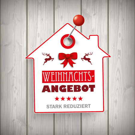 German text Weihnachtsangebot, stark reduziert, translate Christmas Offer, discount.