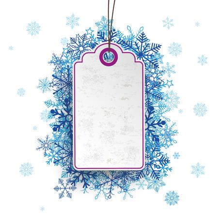 price sticker: Purple price sticker with blue snowflakes.