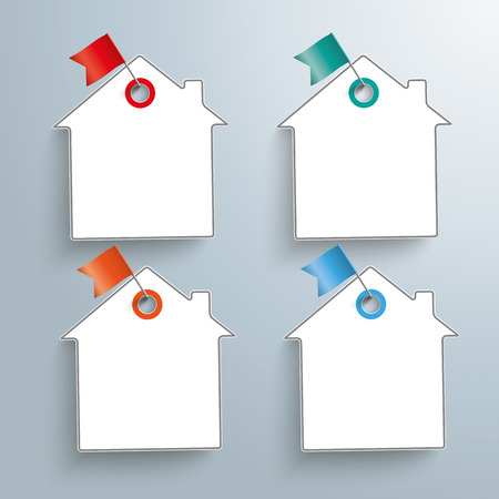 home products: 4 paper house stickers with pins on the gray background.