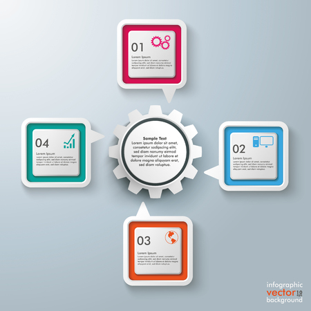 vecter: Four colorful speech bubbles with gear wheel centre on the gray background.  Illustration