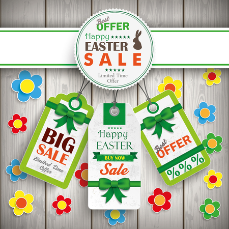 Easter price stickers on the wooden background.