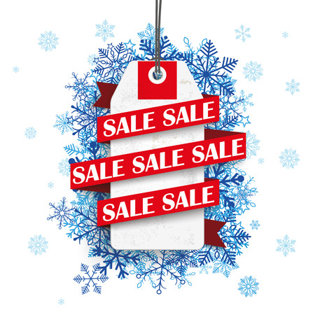 winter snow: Price sticker with ribbon and text sale on the background with blue snowflakes.  Illustration