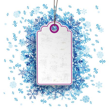Lila Preis Aufkleber mit blauen Schneeflocken und Prozente. Standard-Bild - 48831276