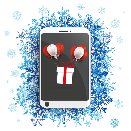 cold storage: Smartphone with snowflakes and flying gift on the white background. Eps 10 vector file. Illustration