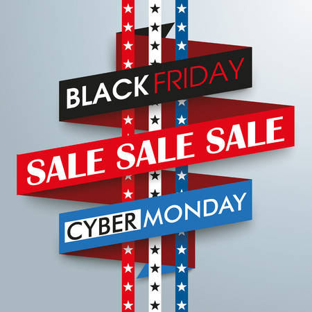 monday: Sale ribbon with stars for black friday and cyber monday. Eps 10 vector file.