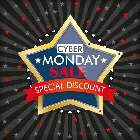 monday: Cyber monday brochure background with hole, stripes and stars. Eps 10 vector file.