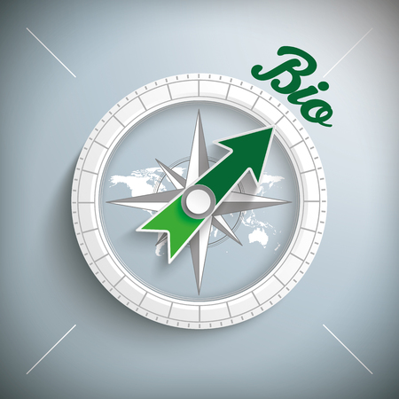 eps 10: Compass with text Bio. Eps 10 vector file. Illustration