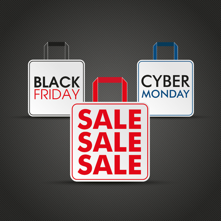 Shopping bags with text black friday and cyber monday. Eps 10 vector file. Illustration