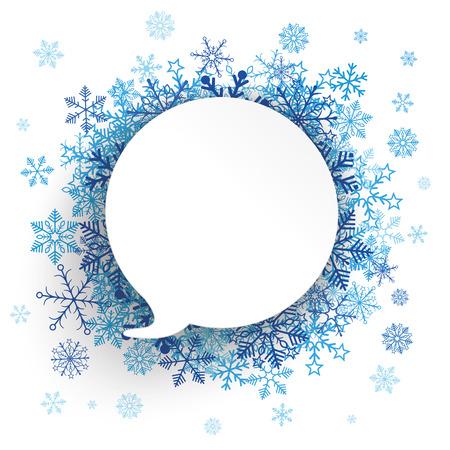 Weißes Papier Sprechblase mit blauen Schneeflocken auf dem weißen. Eps 10 Vektor-Datei. Standard-Bild - 48831319