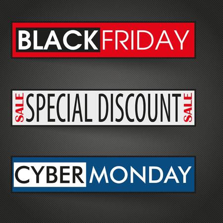 monday: 3 banners with text cyber monday and black friday on the dark background. Eps 10 vector file.