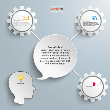 argumentation: Paper speech bubble with 3 connected gears on the gray background. Eps 10 vector file.