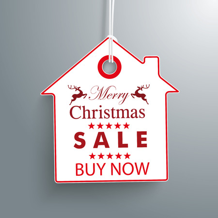 price tag: House price sticker for christmas sale. Eps 10 vector file. Illustration