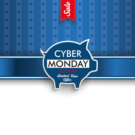 flag template: Cyber monday flyer with piggy bank.