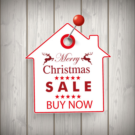 price sticker: Christmas house price sticker on the wooden background.  Illustration