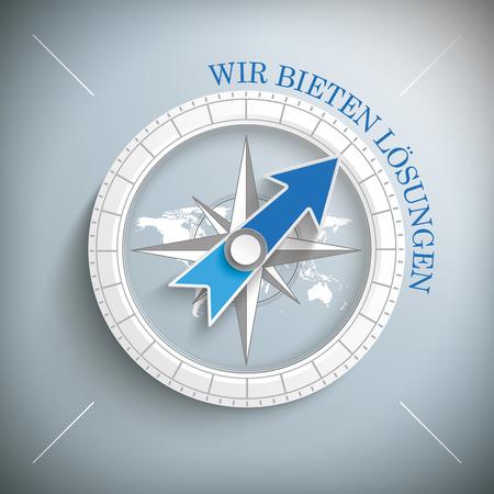 """tekst w języku niemieckim """"Wir bieten Loesungen"""" przetłumaczyć """"rozwiązanie z nami""""."""