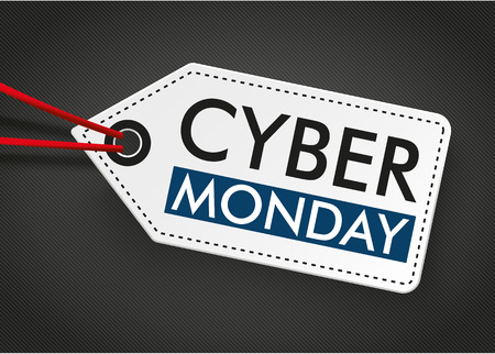 Price label with text cyber monday on the dark background.