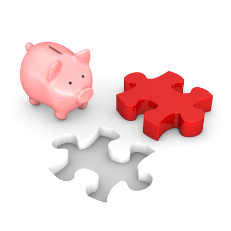 hypothec: Red puzzle with piggy bank on the white.