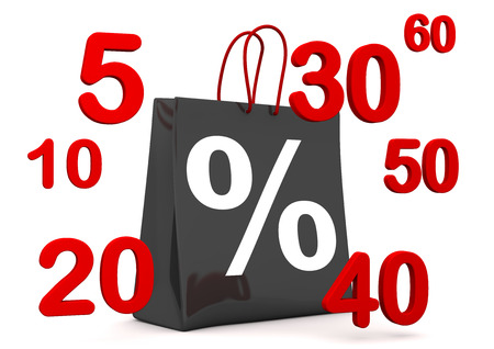 Black shopping bag with percent and numbers on the white. 3d illustration.