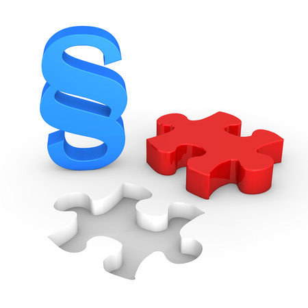 solicitor: Red puzzle piece with blue paragraph on the white.