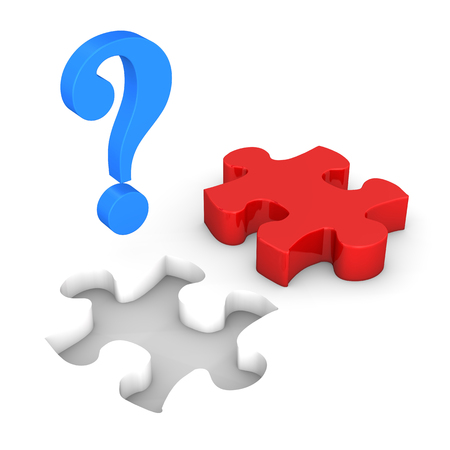 red puzzle piece: Red puzzle piece with blue paragraph on the white.