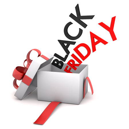 onlineshop: Opened gift box with text Black Friday. 3d illustration.